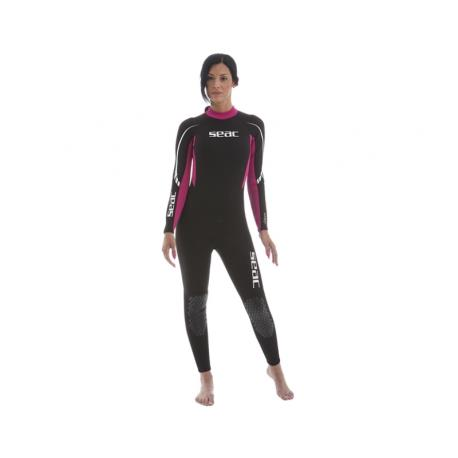 Στολή ολόσωμη γυναικεία μαύρη/ροζ 2.2m Relax Seac_e-sea.gr