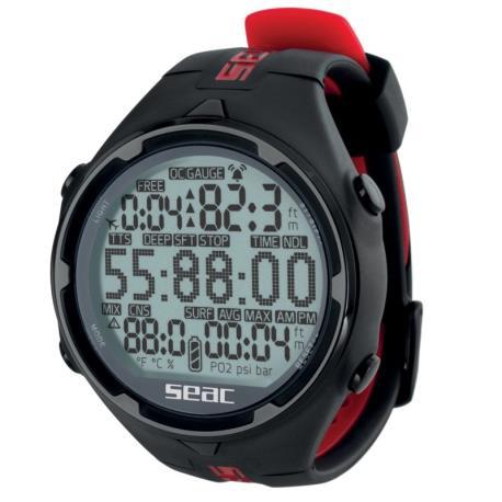 Καταδυτικό ρολόι-υπολογιστής Action HR μαύρο/κόκκινο Seac_e-sea.gr