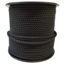 Σχοινί τρίκλωνο πολυεστερικό διπλή στρέψη μαύρο 12mm CAVO