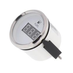 Όργανο δείκτης καυσίμου ψηφιακό 52mm λευκό/inox