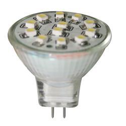 Λαμπάκι LED, 12V, MR11, G4, ψυχρό λευκό - 12 SMDs