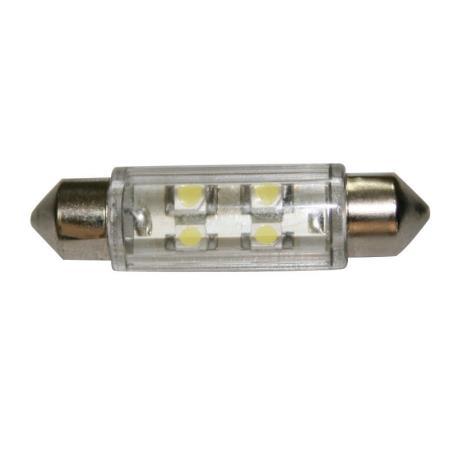 Λαμπάκι LED, 12V, T11 , SV8.5-8, 39mm, ψυχρό λευκό - 2x4 LEDs 36