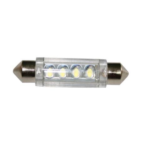 Λαμπάκι LED, 12V, T11, SV8.5-8, 41mm, ψυχρό λευκό - 4 LEDs