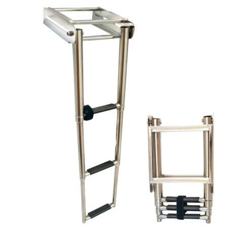 Σκάλα πλατφόρμας, πτυσσόμενη, 3 σκαλοπάτια, Inox 316, 220x880mm